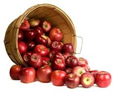 リンゴ・イメージ・カゴから溢れる